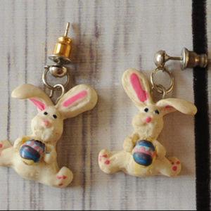 vintage easter bunny pierced earrings